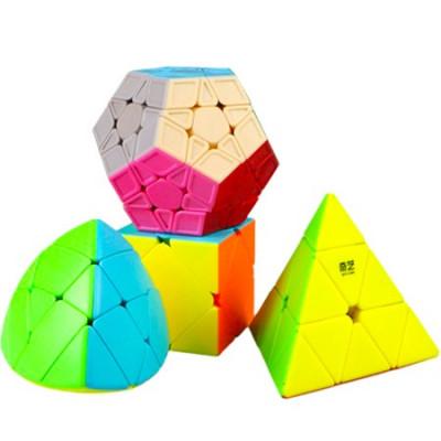 QiYi MoFangGe 4 Magic Cubes Bundle - Megaminx, Pyraminx, Mastermorphix, Skewb Cube