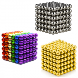 3 x Neo Cubes 216 stk. 5mm Magnetic Balls Bundle - Gold, Silver & Rainbow Color