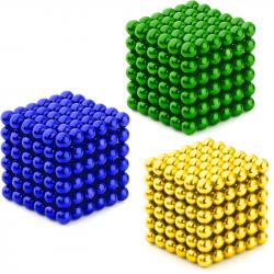 3 x Neo Cubes 216 stk. 5mm Magnetic Balls Bundle - Gold, Green & Blue