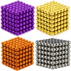 4 x Neo Cubes 216 stk. 5mm Magnetic Balls Bundle - Gold, Silver, Orange & Purple