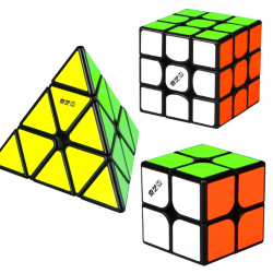QiYi MS Series Bundle Black - 2x2, 3x3, Pyraminx