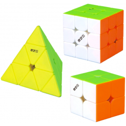 QiYi MS Series Bundle Stickerless - 2x2, 3x3, Pyraminx