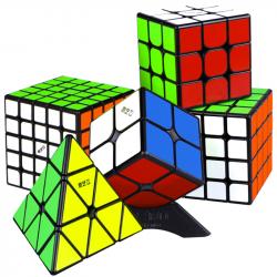 QiYi MS Series Bundle Black - 2x2, 3x3, 4x4, 5x5 & Pyraminx