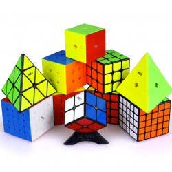 QiYi MS Series Bundle Black & Stickerless -  2X (2x2, 3x3, 4x4, 5x5 & Pyraminx)
