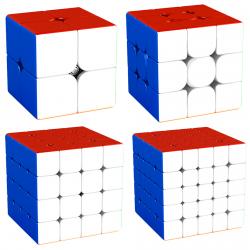MFJS MeiLong 2x2, 3x3, 4x4, 5x5 Magnetic Bundle Stickerless - 4 Magic Cubes