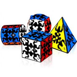 QiYi Gear Pyraminx, Cylinder, Sphere, 3x3 Cube Bundle (Tiled) - 4 Gear Puzzles