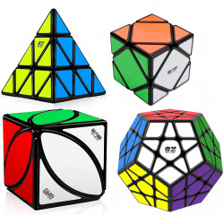 QiYi MoFangGe 4 Magic Cubes Bundle - Megaminx, Pyraminx, Skewb, Ivy Cube