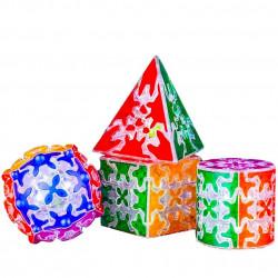 QiYi Gear Pyraminx, Cylinder, Sphere, 3x3 Cube Bundle Transparent (Tiled) - 4 Gear Puzzles