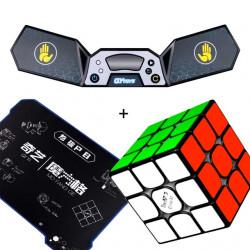 QiYi SpeedCubing Bundle - Valk 3 Elite M, Cube Mat, Cube Timer