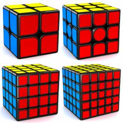 MFJS MeiLong 2x2, 3x3, 4x4, 5x5 Magnetic Bundle Black - 4 Magic Cubes