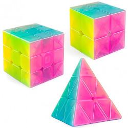 QiYi Neon 2x2, 3x3, Pyraminx Bundle Jelly Transparent
