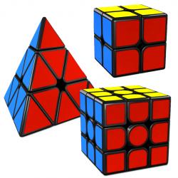 MFJS MeiLong 2x2, 3x3, Pyraminx Magnetic Bundle Black