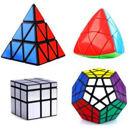 ShengShou 4 Magic Cubes Bundle - Megaminx, Pyraminx, Mastermorphix, Mirror Cube